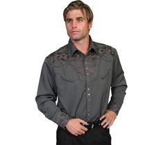 Scully Men's Multi-Color Floral Embroidery Retro Western Shirt Big - P-634X Cho | Amazon.com