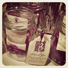 "@Trini Leon {NOZZA Studio}'s photo: ""Mason jar mugs with his and her drink recipe. #nozza"" #wedding #favors #purple #hotelmaya"
