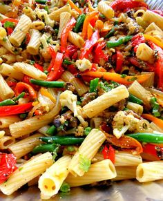 Roasted Veggie Pasta for a Crowd - everything can be prepped the day before including the pasta, and assembled the day of your party. Bring everything to room temperature, mix it all together and warm it slightly in a low oven,