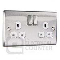 Metal Brushed Stainless Steel Plug Socket Switched Double (2 Gang) £4.98 from electricalcounter.co.uk