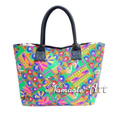 Indian Cotton Tote Shoulder Suzani Gujrati Embroidery Design Woman Boho Bag  j41 #Namasteart #TotesShoppers