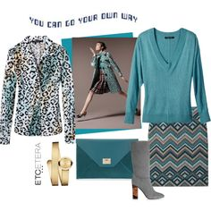 Etcetera | Fall 2015: Mixing patterns. CAPTURE animal print blouse, MARGAUX blue sweater, QUEBEC chevron skirt. www.etcetera.com.