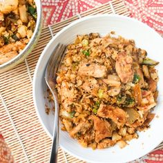 Kimchi fried cauliflower rice with lean pork loin. A low carb alternative to the classic Korean comfort food.