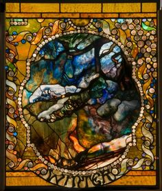 Winter panel of the Four Seasons, exhibited at Exposition Universelle, Paris, 1900, by Louis Comfort Tiffany.