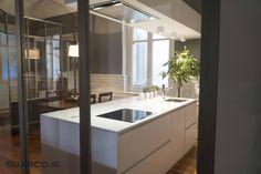 cocina guardado desde isla moderna blanca cocinas