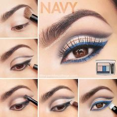 Blue Eyeliner - this is a pretty look. This can be easily recreated with makeup from www.lashhoney.com