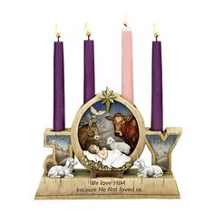 ADVENT WITH BABY CANDLE HOLDER