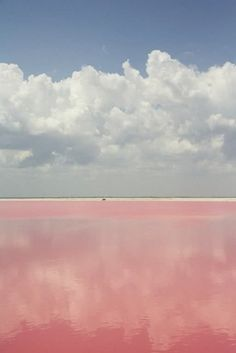 Lake Retba, Senegal. Wonderful pastel palette. I've never seen water that color, and such white sandy beaches with that fluffy cloud sky...breathtaking in a very mellow way.