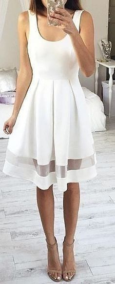 #fall #work #outfits | White 'Between The Lines' Dress