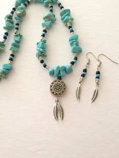 Southwestern Necklace and Earring set, Tribal necklace, Semi-Precious stone necklace, Jewelry set, Turquoise Blue Necklace, Feather necklace
