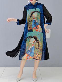 O-NEWE Plus Size Vintage Women Floral Printed Dress - Banggood Mobile