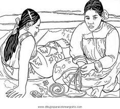 """Colorear """"Mujeres de Tahití"""". Gauguin"""