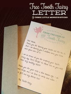 "Free Tooth Fairy Letter by Three Little Monkeys Studio || threelittlemonkeysstudio.com. ""From The Desk of The Tooth Fairy"" great template, printable letter for kids!"