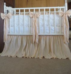 Vintage Inspired Crib Bedding In Ivory And Crinkled Tan Light Peach