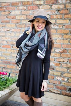 I LOVE this swing dress! This is perfect for winter, and so cute! I can't wait to get me that dress, and that scarf is such a nice touch!