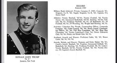 Donald Trump's senior-year portrait in the 1964 New York Military Academy's yearbook.