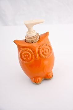 "Owl Soap dispenser  in tangerine orange. This yellow Billy Button (Craspedia) floral arrangement is made using professionally dried flowers and a vintage milk glass vase...perfect accessory for any room.    Approximate Dimensions:  6"" Width x 10"" Height    Contact for international shipping rates. via Etsy."