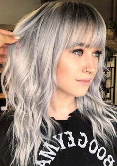 We have presented here some of the top trends of silver hair colors and hairstyles with bangs. These are our suggested ideas of hairstyles for women to try nowadays. silver hair 36 Incredible Silver Hairstyles Trends with Bangs in 2019 Curly Hair With Bangs, Hairstyles With Bangs, Curly Hair Styles, Cool Hairstyles, Evening Hairstyles, Layered Hairstyles, Hair Styles For Medium Hair With Bangs, Grey Hair Styles For Women, Blonde Hair With Bangs