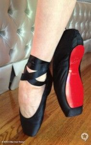 Lucky lady Dita Von Teese received one-of-a-kind red-bottomed ballet slippers from the shoe master himself, Christian Louboutin.    sooo gorgeous. wish i still took pointe.