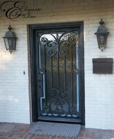 Custom wrought iron front door, with narrow stile and hardware notch. Doors, Single Doors, House Design, Home Decor, Wrought Iron Front Door, Wrought Iron, Deco