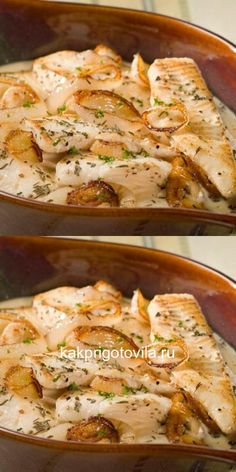 Baked fish in a gravy - delicious - Food House Fish Recipes, Seafood Recipes, Cooking Recipes, Easy Healthy Dinners, Healthy Recipes, Healthy Sandwiches, Baked Fish, Food Photo, My Favorite Food