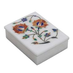 Stoneware Box with Lid Indian Art Inlay Floral Arrangement Handmade by Artisan