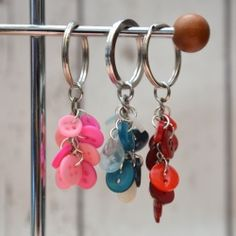 Love Buttons? It's really easy to make a keyring with tiny buttons for yourself or as a gift.