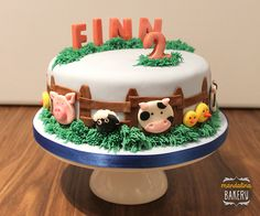 Farm cake for Finn's birthday - a moist orange sponge filled and covered with orange buttercream and fondant farm animals. 2 Year Old Birthday Cake, Farm Birthday Cakes, Toddler Birthday Cakes, Baby Boy Birthday Cake, Animal Birthday Cakes, Birthday Cake Pictures, Farm Animal Birthday, Animal Cakes For Kids, Farm Animal Cakes