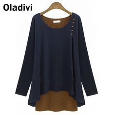 Find More T-Shirts Information about 5XL Plus Size Ladies Clothes 2015 Spring Autumn New Arrival Europe Female T shirt Faux Two Piece Long Sleeve Blouse Cotton Shirt,High Quality shirt blouses,China shirt dress plus size Suppliers, Cheap blouse striped from Oladivi Group - Minabell Fashion Store on Aliexpress.com