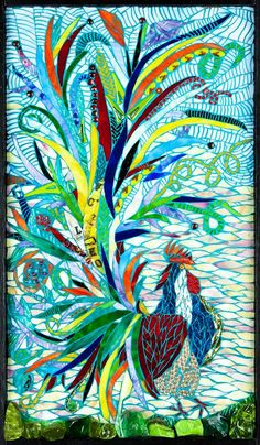 Her Fantasy Rooster Mosaic Art OOAK, Original design on Etsy, £604.45