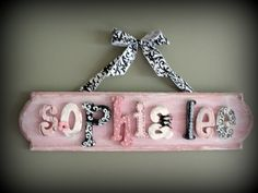 Personalised wooden name plaques child door wall signs gift 99p a letter girl