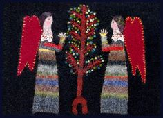 Two Angels at the Tree of Life - Folk Art Greeting Card - Perfect for Christmas Card - Recycled Sweaters Felted Wool Sewn Folk Art