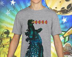 Godzilla Poster on Gray Kids T-Shirt
