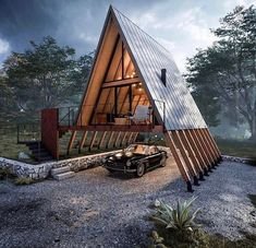 A Frame House Plans, A Frame Cabin, Container House Design, Tiny House Design, Cabins In The Woods, House In The Woods, Triangle House, Triangle Building, Casas Containers