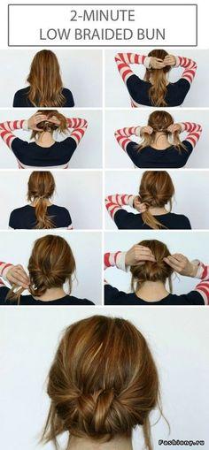 Love this low braise bun hair tutorial! Cute hair!