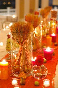Wedding, Flowers, Red, Centerpiece, Orange, Fall, Fruit, Soiree floral