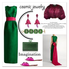 """Cosmic jewelry"" by elarmariodelcamaleon ❤ liked on Polyvore featuring Oscar de la Renta and Judith Leiber"