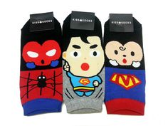 Spiderman Superman 3 Pairs Mens Ankle Funny Socks size 9-11 blue red gray socks #Kiss #Casual