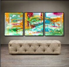 """'Beautiful Spring Time' - 48"""" X 20"""" Original Paintings . Free shipping within USA & 30 day return policy."""
