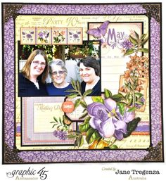 May Double Layout (view 4) by 2015 Graphic 45 Ambassador Jane Tregenza using Time to Flourish #graphic45 - Wendy Schultz ~ Graphic 45 Projects.