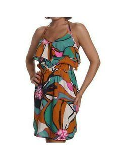 New Juniors Roxy Shore Bet Multi Halter Dress Size S
