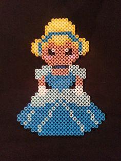Cinderella Perler Bead Figure by AshMoonDesigns on deviantART Perler Bead Disney, Perler Bead Art, Hama Beads Patterns, Beading Patterns, Filet Crochet, Images Disney, Cinderella, Peler Beads, Iron Beads