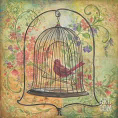 """La Boheme Bird II"" Art Print by Kate McRostie at Art.com"
