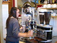Gleaming Elektra espresso machine at Coal Creek Coffee, Laramie Wyoming