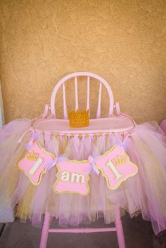 Decorated high chair at a Pink and Gold Birthday Party! See more party planning ideas at CatchMyParty.com!