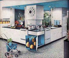 Modern White Kitchen Vintage Interior Design Photo by Christian Montone. Vintage Interior Design, Interior Design Photos, 1950s Kitchen, Vintage Kitchen, Kitchen Images, Retro Home Decor, Vintage Decor, Modern Decor, Modern Kitchen Design