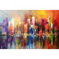 schilderijen van skyline amsterdam en haven Skyline Painting, Cityscape Art, City Painting, Skyline Art, Oil Painting Abstract, Abstract City, Art Moderne, City Art, Art Oil