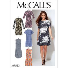 Misses and Womens Fitted, Sheath Dresses McCalls Sewing Pattern 7533.