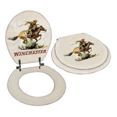 FREE SHIPPING! Rockin W Brand Winchester Horse & Rider Toilet Seat W1225 | Buffalo Trader Online