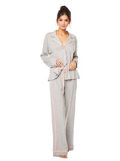 Cosabella Bella Long Sleeve Top   Pant Pajama Set - Anthracite Moon Ivory S 55e3ce95a